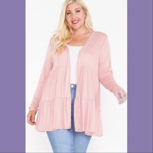 Lightweight Baby Pink Open Front Tiered Cardigan